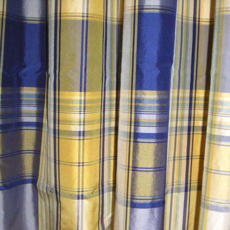 DV-Stoffe Taffeta Karo 6943-blau: Stoff für Vorhänge und ...